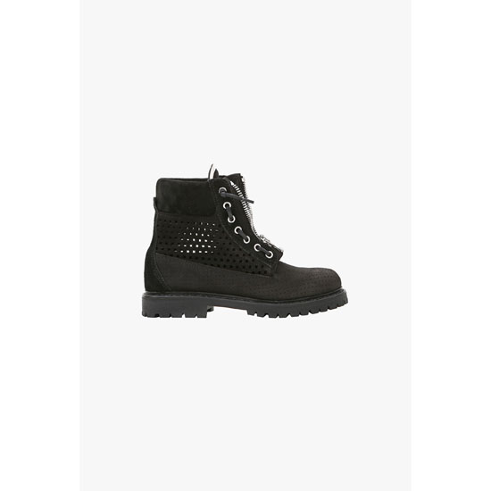 BALMAIN WOMEN TUNDRA PERFORATED SUEDE BOOTS