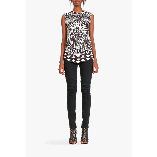 BALMAIN WOMEN BLACK & WHITE NATIVE AMERICAN PATTERNERD COTTON SLEEVELESS T-SHIRT