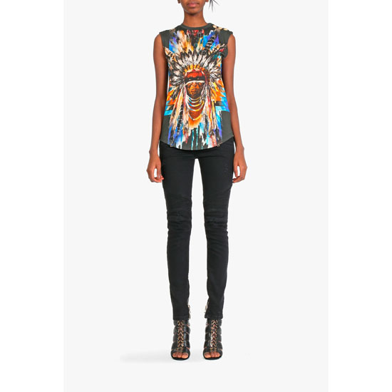 BALMAIN WOMEN MULTICOLOR INDIAN-PATTERNERD COTTON SLEEVELESS T-SHIRT