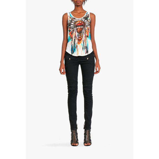 BALMAIN WOMEN INDIAN-PATTERNERD LINEN TANK-TOP