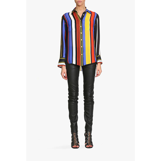 BALMAIN WOMEN MULTICOLOR SILK GEORGETTE BLOUSE