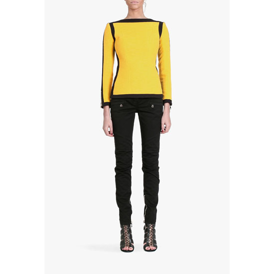 BALMAIN WOMEN CONTRASTED COTTON LONG-SLEEVED T-SHIRT