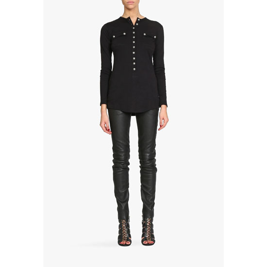 BALMAIN WOMEN COTTON CASHMERE BLEND HENLEY T-SHIRT