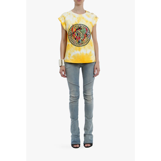 BALMAIN WOMEN INDIAN-PATTERNED TIE AND DYE COTTON TANK-TOP