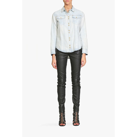 BALMAIN WOMEN COTTON DENIM SHIRT