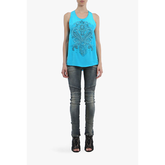 BALMAIN WOMEN EMBROIDERED CREPE SILK TOP
