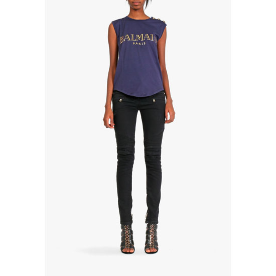 BALMAIN WOMEN SLEEVELESS LOGO PRINTED COTTON T-SHIRT