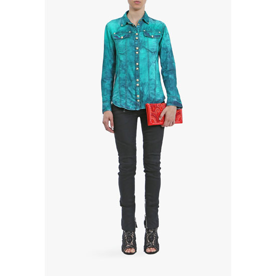 BALMAIN WOMEN TIE& DYE COTTON DENIM SHIRT