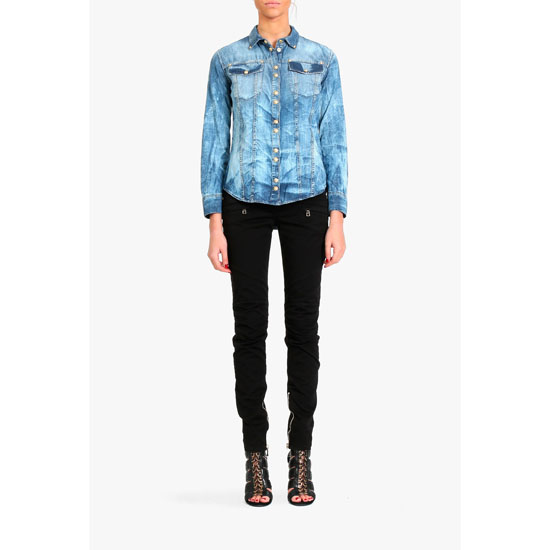 BALMAIN WOMEN TIE & DYE COTTON DENIM SHIRT