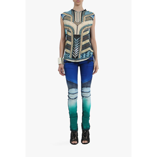 BALMAIN WOMEN BEADED-PATTERNED SLEEVELESS LINEN T-SHIRT