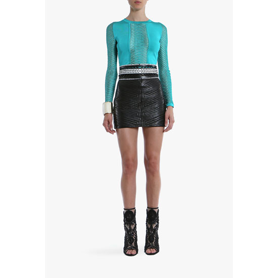 BALMAIN WOMEN CREPE LONG-SLEEVED TOP WITH SHEER YOKE