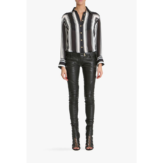 BALMAIN WOMEN PRINTED SILK GEORGETTE BLOUSE