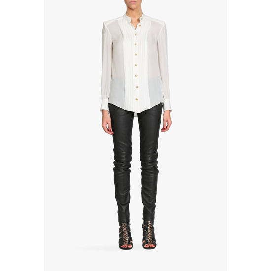 BALMAIN WOMEN SILK-GEORGETTE SHIRT